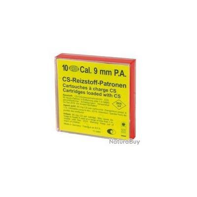 Boîte de 10 cartouches 9 mm PA à gaz CS