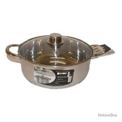 Faitout 5 litres 24 cm tout inox mat riel de cuisine for Materiel de cuisine inox