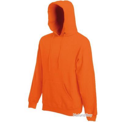 Sweat à capuche orange taille S Fruit Of The Loom mixte - SC244