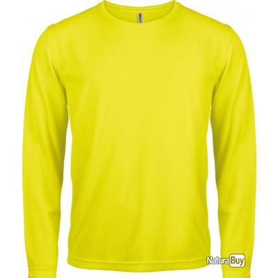 t shirt manches longues homme jaune fluo s pa443 tee. Black Bedroom Furniture Sets. Home Design Ideas