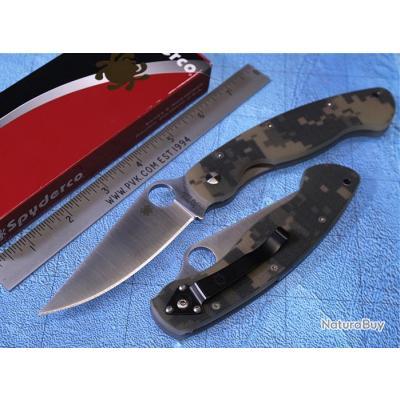 Couteau sc36gpcmo Spyderco Military Digital Camo Handle acier CPM-S30V