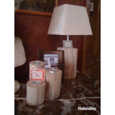 Lampe bois artisanal sans abat jour luminaires et - Lampe sans abat jour ...