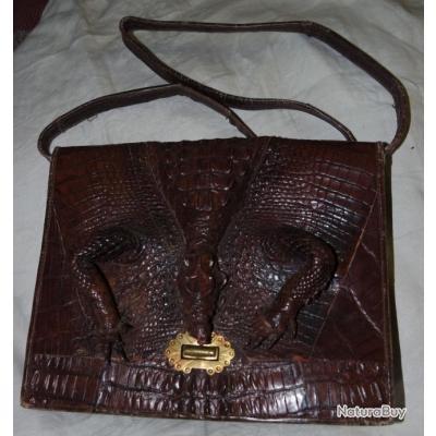rare sac main vintage en crocodile objets divers 986638. Black Bedroom Furniture Sets. Home Design Ideas