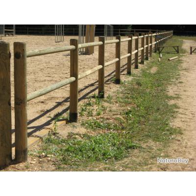 Cloture equestre en bois autoclave piquets 1037948 for Prix d une cloture en bois