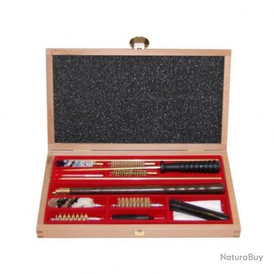 Coffret nettoyage fusils calibre 12 et 9 mm bois luxe for Prix carabine 12 mm neuve
