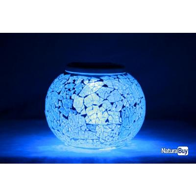 lampe solaire en verre craquel lampes 1221667. Black Bedroom Furniture Sets. Home Design Ideas