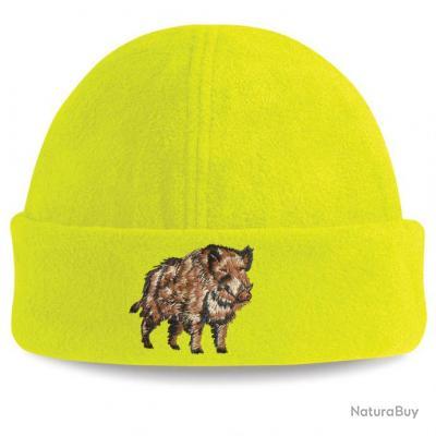 24c6e542f7 Bonnet polaire JAUNE FLUO avec motif SANGLIER - Chapeaux, casquettes ...