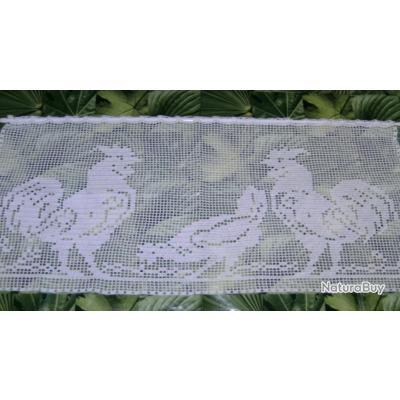 rideau brise vue coqs poule crochet pi ce unique fait main neuve tapisseries 1255761. Black Bedroom Furniture Sets. Home Design Ideas