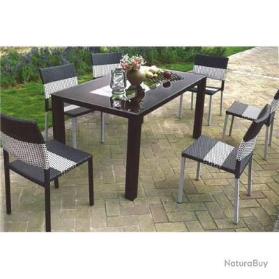 Salon de jardin design royan en r sine tress e noire et grise mobilier 127 - Vente mobilier de jardin ...