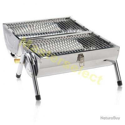 Barbecue Mobile Transportable Pour Charbon De Bois Inox 42x29.5x37cm Pas Cher
