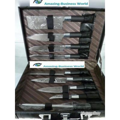 valise malette couteau 10 pi ces en inox ustensiles de. Black Bedroom Furniture Sets. Home Design Ideas