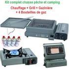 KIT COMPLET Chauffage + gazini�re + grill + 4 recharges de gaz