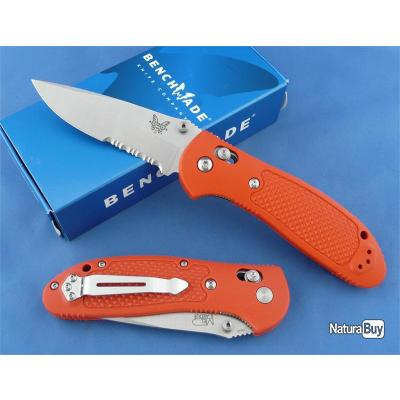 Couteau Benchmade Griptilian Orange Acier N680 Serr Manche Noryl GTX Axis Lock Made In USA BN551SH2O
