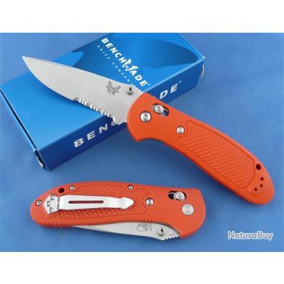 Couteau Benchmade Griptilian Orange Acier N680 Serr Manche Noryl GTX Axis Lock Made In USA BN551SH2O