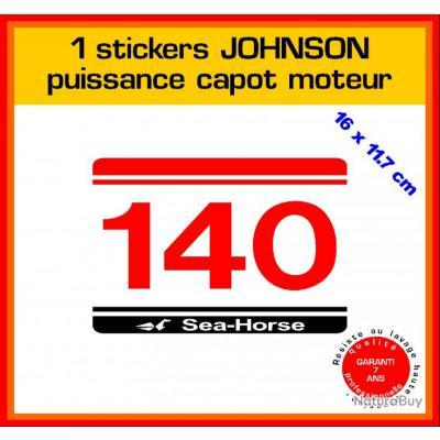 1 sticker JOHNSON puissance moteur 140 cv série 5 hors bord bateau barque pêche
