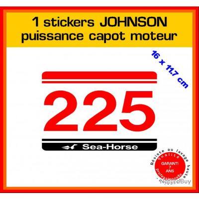 1 sticker JOHNSON puissance moteur 225 cv série 5 hors bord bateau barque pêche