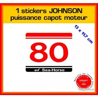 1 sticker JOHNSON puissance moteur 80 cv série 5 hors bord bateau barque pêche