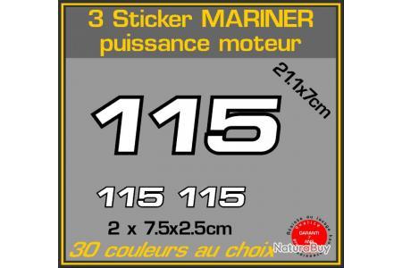 3 Sticker Mariner Puissance Moteur 115 Cv Serie 2 Hors Bord Bateau Peche Moteurs 1512799