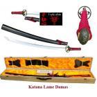 Katana  Lame  DAMAS ( Bois rouge et noir )