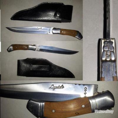 dague de chasse couteau laguiole manche bois grande taille avec tui cuir couteaux laguiole. Black Bedroom Furniture Sets. Home Design Ideas