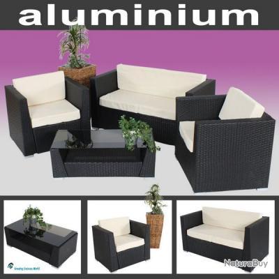 Ensemble salon de jardin r sine tress e poly rotin for Salon de jardin aluminium et resine