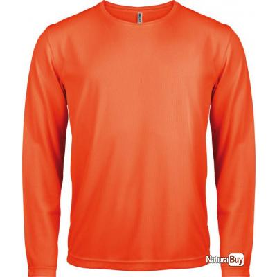 bccb58a55bb T-shirt manches longues homme orange fluo - S - PA443 - Tee-shirts ...