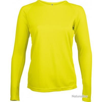 T Shirt Manches Longues Femme Jaune Fluo L Pa444