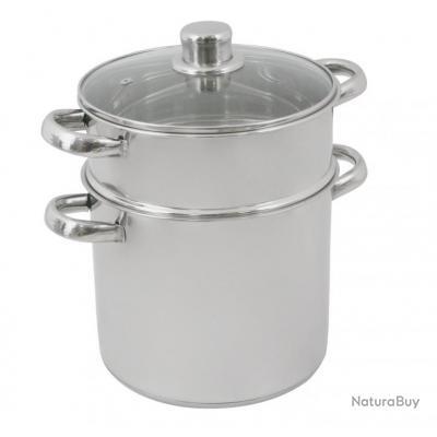 Couscoussier inox 6 l couvercle verre diam tre 20 cm for Materiel de cuisine inox