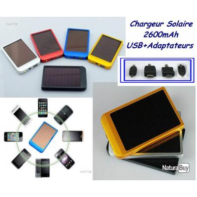 chargeur batterie solaire 2600mah avec 4 adaptateurs smartphone mp3 mp4 pda equipement. Black Bedroom Furniture Sets. Home Design Ideas