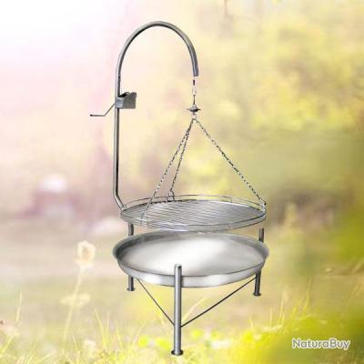 barbecue bbq inox compact avec grille suspendue tournante. Black Bedroom Furniture Sets. Home Design Ideas