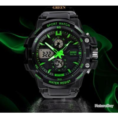 montre sport noire et verte homme digitale led multifonction chronom tre skmei etanche montres. Black Bedroom Furniture Sets. Home Design Ideas