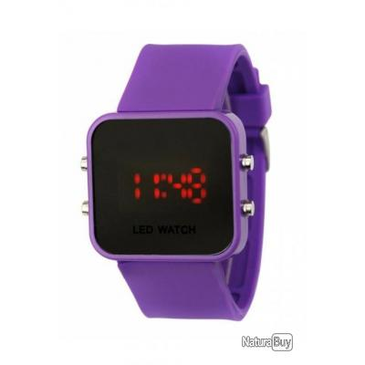 Montre silicone led watch mirroir violette homme femme bracelet silicone