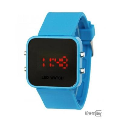 Montre silicone led watch mirroir bleu ciel homme femme bracelet silicone