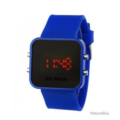 montre silicone led watch mirroir bleu marine homme femme. Black Bedroom Furniture Sets. Home Design Ideas