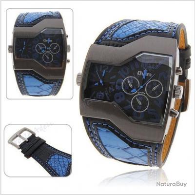 imposante montre homme bleu ultra design et tendance double cadran oulm simili cuir montres. Black Bedroom Furniture Sets. Home Design Ideas