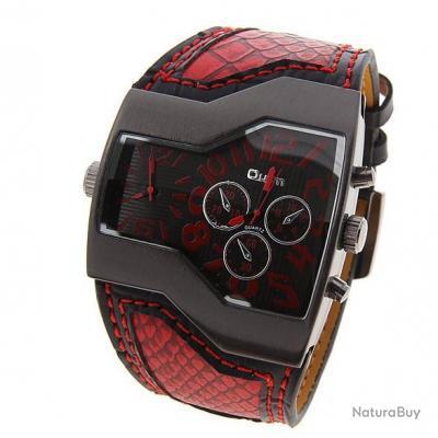 Imposante Montre Homme rouge Ultra Design Et Tendance Double Cadran Oulm simili cuir
