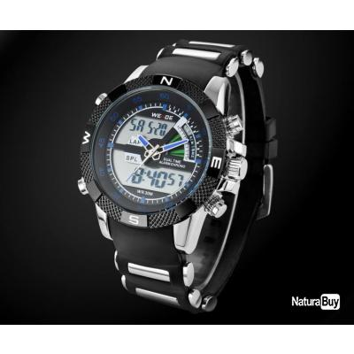 grosse montre weide watch homme noire et bleu led quartz digital bracelet alliage noire. Black Bedroom Furniture Sets. Home Design Ideas