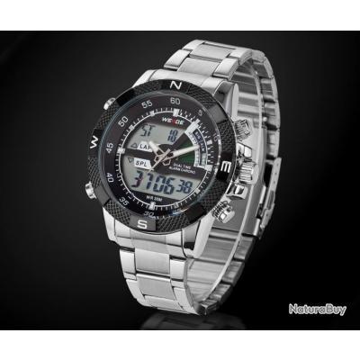 grosse montre weide watch homme noire led quartz digital bracelet acier montres 1871892. Black Bedroom Furniture Sets. Home Design Ideas