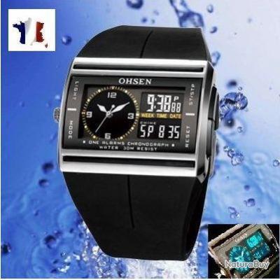 montre sport homme femme ohsen digital alarm chrono led watch montres 1871904. Black Bedroom Furniture Sets. Home Design Ideas