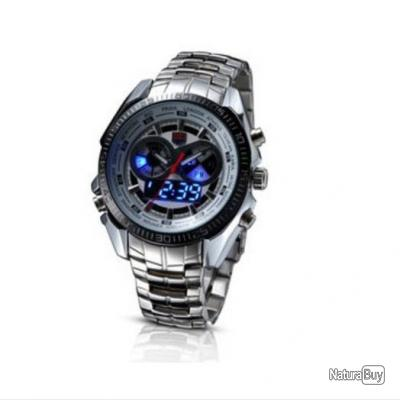 montre homme digital quartz led militaire double affichage bracelet acier montres 1871922. Black Bedroom Furniture Sets. Home Design Ideas