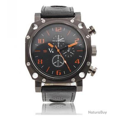 imposante montre homme gros cadran v6 bracelet cuir watch. Black Bedroom Furniture Sets. Home Design Ideas