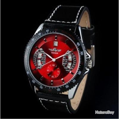 montre m canique automatique homme rouge bracelet cuir neuve winner montres 1871930. Black Bedroom Furniture Sets. Home Design Ideas