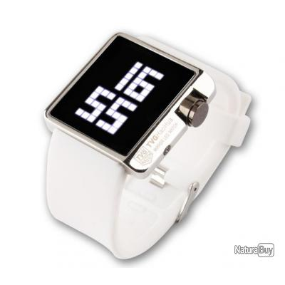 montre led watch tvg silicone blanche mirroir digital. Black Bedroom Furniture Sets. Home Design Ideas