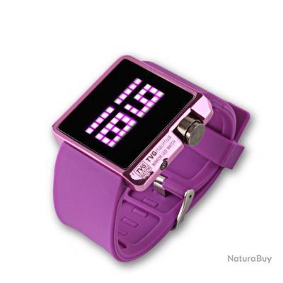 montre led watch tvg silicone violette mirroir digital. Black Bedroom Furniture Sets. Home Design Ideas