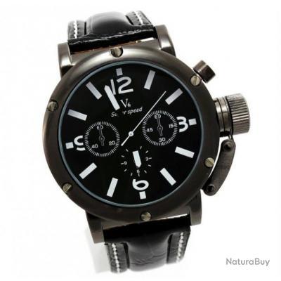 imposante montre homme noire et blanche gros cadran v6 bracelet cuir montres 1871965. Black Bedroom Furniture Sets. Home Design Ideas