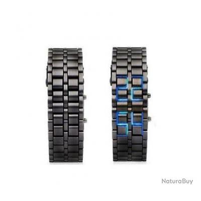 Montre Bracelet / Gourmette Homme - Acier mate - Led bleu  - Iron Samourai
