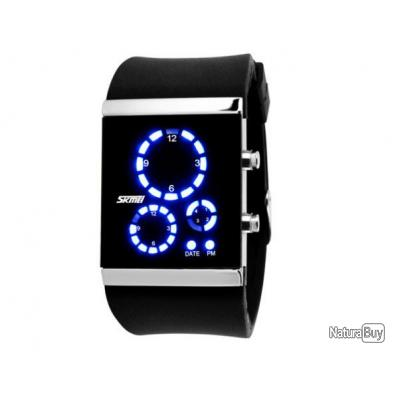 montre binaire noire skmei led bleu circulaire bracelet. Black Bedroom Furniture Sets. Home Design Ideas