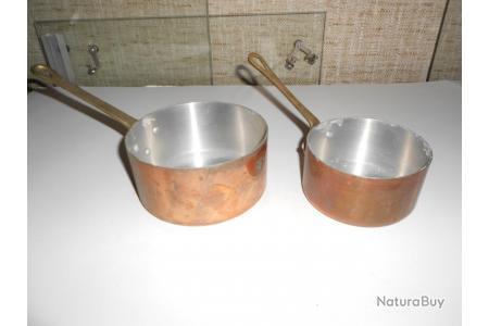 2 Casseroles En Cuivre Etame Et Manche En Laiton De Qualite Et