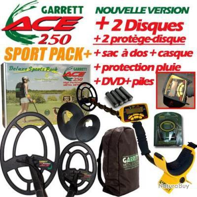 Détecteur de métaux Garrett Ace 250 + pack sport , dernier disponible