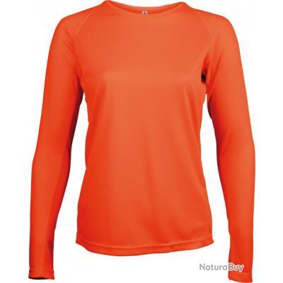 T-shirt manches longues femme orange fluo - S - P444